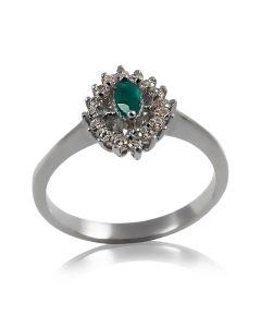 Золотое кольцо с зеленым ониксом и фианитами «Тереса»