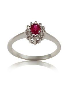 Женское кольцо с рубином и бриллиантами «Кармелита»