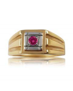 Перстень мужской с одним рубином «Леонардо»