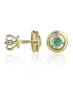 Золоті сережки гвоздики з смарагдом «Селена»