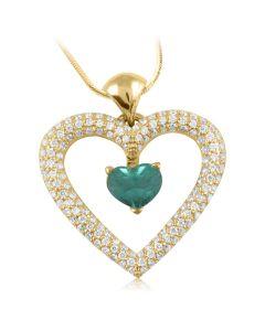 Золотой кулон сердечко с изумрудом «Love heart»