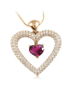 Золотой кулон-сердце с турмалином «Love heart»