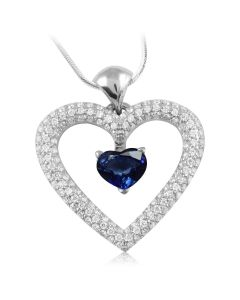 Кулон сердце с сапфиром и бриллиантами «Love heart»