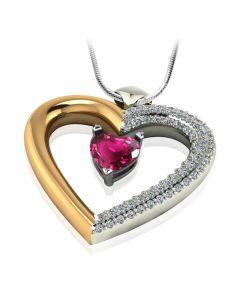 Золотой кулон-сердце с турмалином и цирконами «Loving heart»