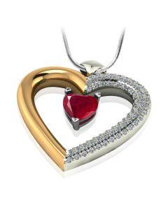 Золотое сердце кулон с рубином «Loving heart»