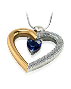 Золотой кулон-сердце с сапфиром и бриллиантами «Loving heart»