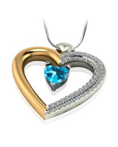 Золотой кулон-сердце с синим топазом «Loving heart»