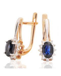 Золотые серьги с сапфирами и бриллиантами «Celestial drop»