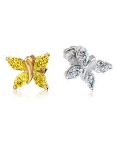 Сережки метелики з білими і жовтими діамантами «Farfalla»