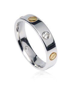 Обручальное золотое кольцо с болтами по мотивам Картье