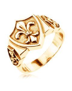 Золота чоловіча печатка з гербом «Геральдична лілія»