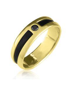Кольцо с черным бриллиантом мужское