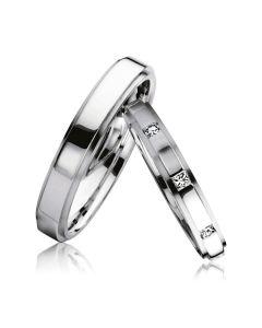 Золотые обручальные кольца парные с бриллиантами «Франция»