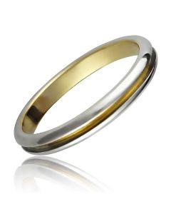Обручальное кольцо европейка двухцветное «Pour toujours»