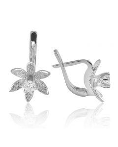 Золоті сережки з діамантом «Зоряний лотос»