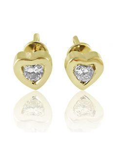 Золоті сережки-пусети з діамантом «Сердечка»