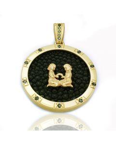 Підвіска з чорним діамантом «Золоті Близнюки»