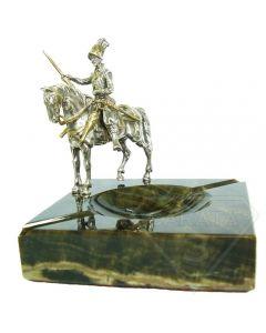 Мармурова попільничка зі срібною статуектою Дон Кіхот