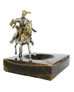Мраморная пепельница с серебряной статуэткой казак