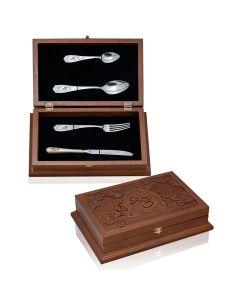 Набір срібного посуду в дерев'яному ящику «Раут»