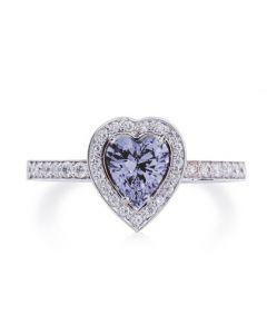 Заручальна каблучка з діамантами та аметистом «Аметистове серце»