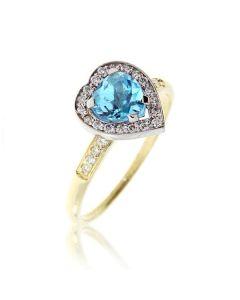 Золотое бриллиантовое кольцо топазом-серцем «С любовью»