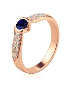 Золотое кольцо с сапфиром «Луна и звёзды»