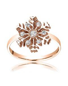 Золотое кольцо в виде снежинки