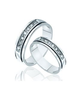 Обручка біле золото діаманти