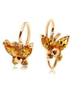 Золоті сережки метелити для дівчинки  «Little Miss»