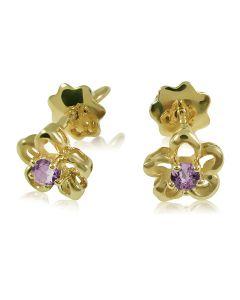 Золотые серьги пусеты c аметистом «Цветочек»