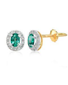 Сережки золоті з овальними зеленими топазами «Twinkle»