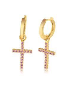 Серьги кресты с розовыми, красными, желтыми сапфирами «Fancy»