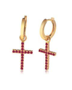 Серьги кресты с рубинами «Fancy»