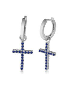 Золотые серьги кресты с сапфирами «Fancy»