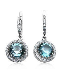 Серьги с топазами и бриллиантами «Льдинка весны»