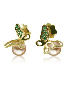Золотые серьги с жемчугом и изумрудом «Жемчужные бабочки»