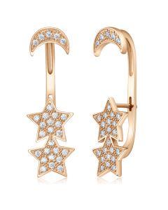 Золотые серьги каффы с цирконием «Звезды»