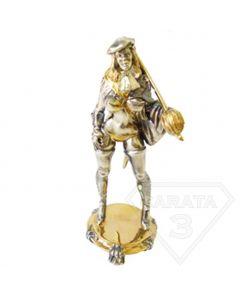 """Серебряная статуэтка с позолотой """"Девушка со шпагой"""""""