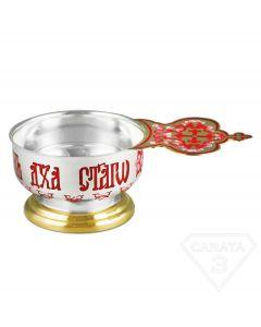 Серебряный церковный ковшик на ножке с эмалью и позолотой