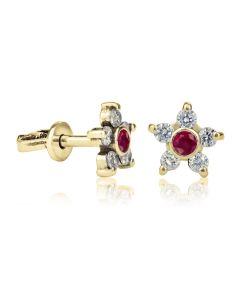 Сережки гвоздики с рубином и белыми сапфирами Magic&Star