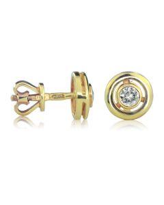 Золотые серьги гвоздики с сапфирами «Селена»