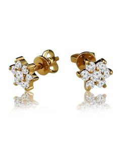 Золоті сережки гвоздики со Swarovski «Ромашка»