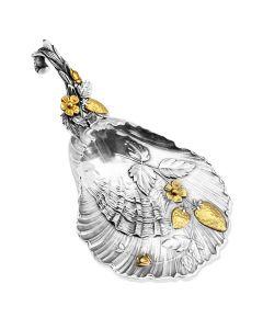 Серебряная лопатка для варенья «Клубничка» с позолотой