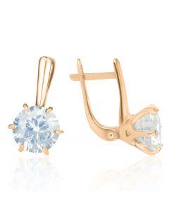 Золоті сережки великими білими топазами «My Tiffany»