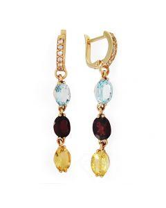 Золотые серьги с цветными камнями «Бусинки»