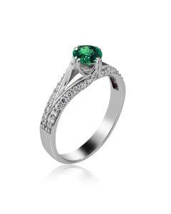 Золотое помолвочное кольцо с гидроизумрудом «Звезда любви»