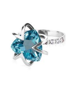 Женское кольцо с треугольным топазом «Магия тайны»