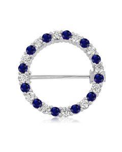Золота кругла брошка з синіми та білими сапфірами «Circle»