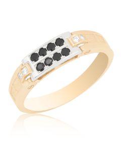 Золота печатка з чорними діамантами «Ліберал»
